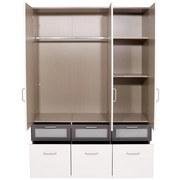 Kleiderschrank Nagold Extra, 136cm - Weiß/Grau, KONVENTIONELL, Holzwerkstoff (136/197/54cm)