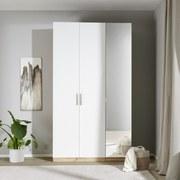 Drehtürenschrank mit Spiegel 136,7cm Unit Weiß/Eiche Dekor - Eichefarben, MODERN, Holzwerkstoff (136,7/210/58,3cm) - Ombra