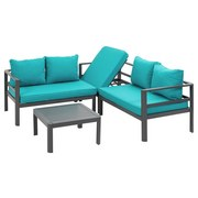 Loungegarnitur Lago 4-teilig inkl. Kissen - Anthrazit/Petrol, MODERN, Metall (196/196cm) - Greemotion