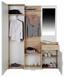 Šatna Mia - bílá/barvy dubu, Moderní, kompozitní dřevo/sklo (150/190/30cm)