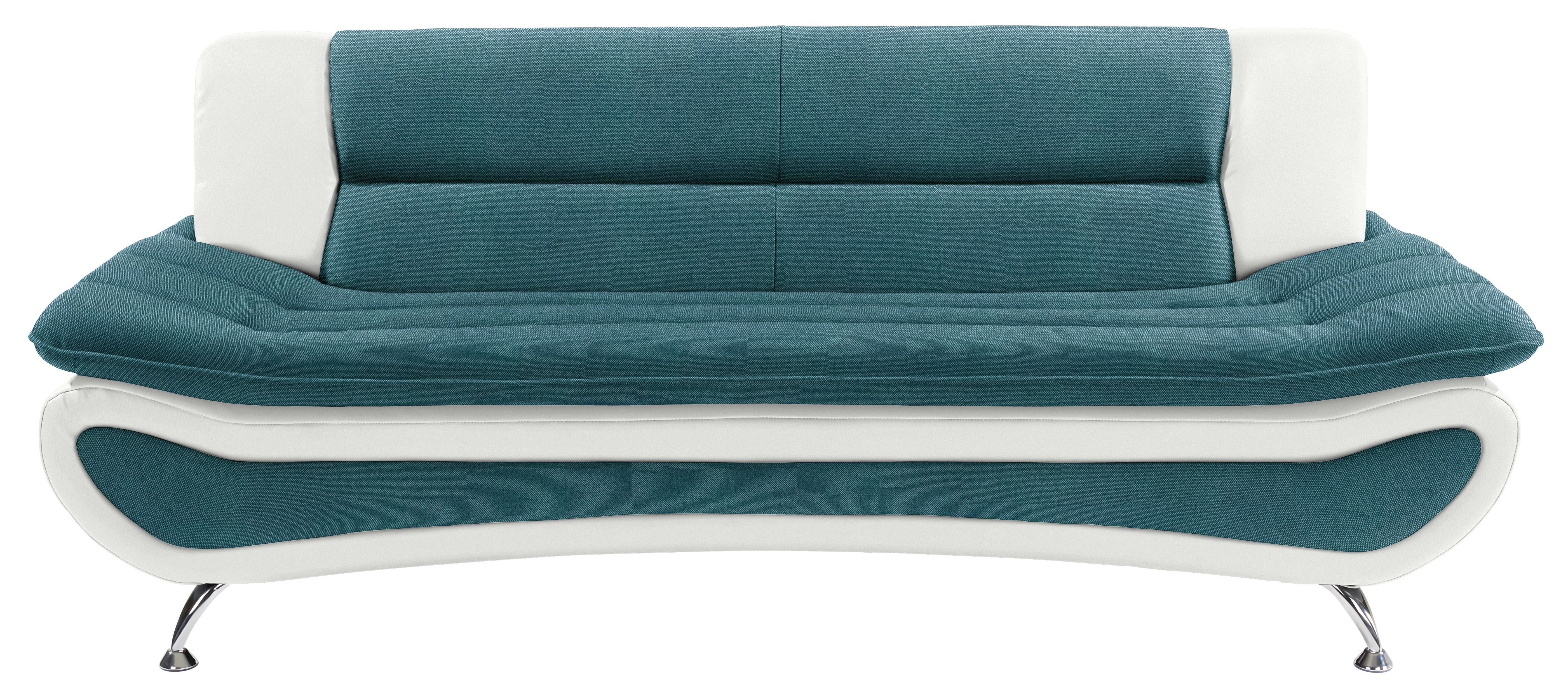 Dreisitzer-sofa Atlantis B: 198cm - Türkis/Chromfarben, MODERN, Textil (198/81/89cm)