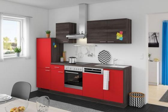 Küchenzeile Win/plan 280 cm Rot/eiche Grau - Eichefarben/Rot, MODERN, Holzwerkstoff (280cm) - Express