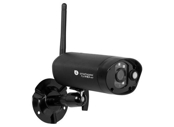 Überwachungskamera Innen/ Außen Wlan mit Nachtsicht - Schwarz, MODERN, Metall (6/4,8/11,8cm)