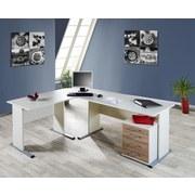 Schreibtisch B 90cm H 74,2cm Serie 200, Weiß - Silberfarben/Weiß, Basics, Holzwerkstoff/Metall (90/74,2/65cm) - MID.YOU