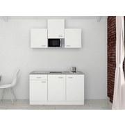 Miniküche Wito 150 cm Weiß - Edelstahlfarben/Weiß, MODERN, Holzwerkstoff (150/60cm) - FlexWell.ai