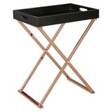Beistelltisch mit Abnehmbarer Tischplatte, Schwarz + Kupfer - Schwarz/Kupferfarben, Design, Holzwerkstoff/Metall (48/61/34cm) - Livetastic