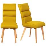 Stuhl-Set Skanderborg 2-er Set Gelb - Currygelb/Eichefarben, Basics, Holz/Textil (45/99/68cm) - MID.YOU