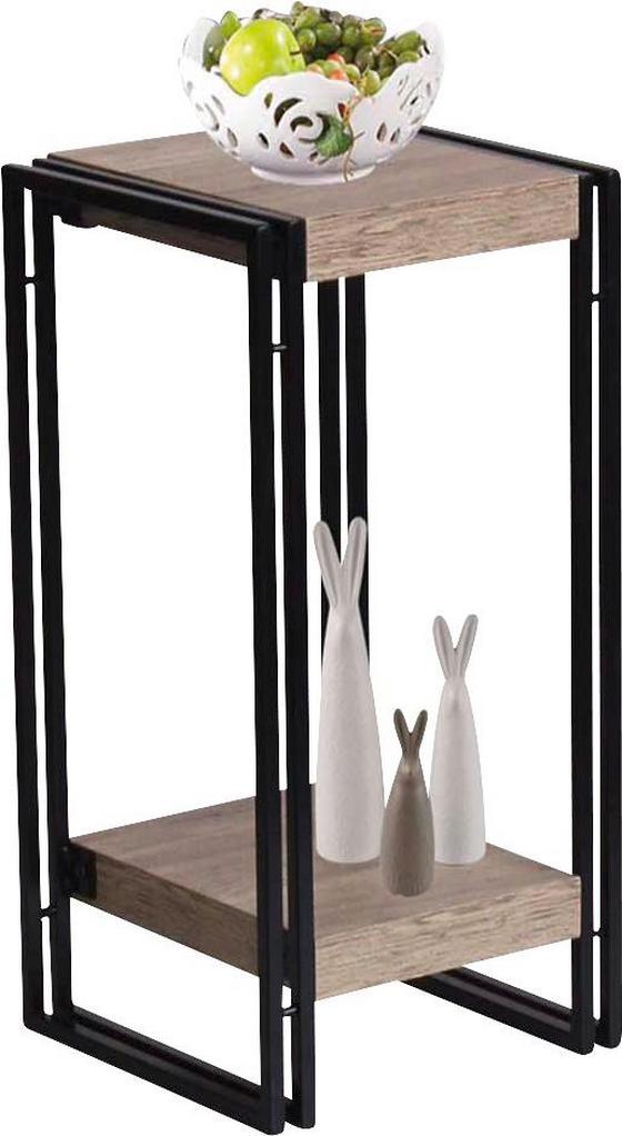 Virágállvány Scott 4 - Tölgyfa/Fekete, modern, Faalapú anyag/Fém (30/55/30cm) - Ombra