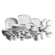 Kombiservice Linea Nera 62-Teilig Weiß - Schwarz/Weiß, Basics, Keramik (44,5/39,3/33,5cm)