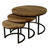Beistelltisch 3er-Set Capella Echtholz Mangoholz Massiv - Schwarz/Braun, MODERN, Holz/Metall (72/72/46cm) - Livetastic
