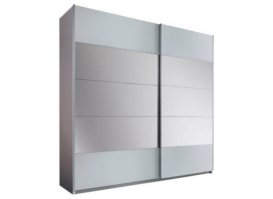Schwebetürenschrank mit Spiegel 215cm Penta, Weiß Dekor - Weiß, MODERN, Glas/Holzwerkstoff (215/210/60cm)