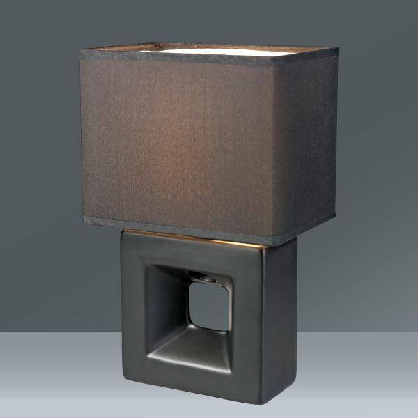 Lampa Stolní Quadro - černá, textil/keramika (17/12/28cm) - MÖMAX modern living