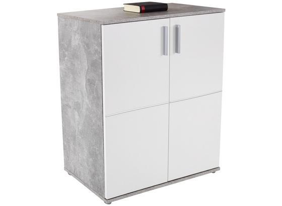 Kommode Ina 01 B:88cm Beton Optik/ Weiß Dekor - Weiß/Grau, MODERN, Holzwerkstoff (88,2/95,2/38,3cm)