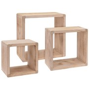 Hängeregal Cube 42x42cm 3-teilig, Paulownia - Naturfarben, MODERN, Holz (42/42/20cm)
