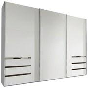 Schwebetürenschrank mit Laden 300cm Level 36a, Weiß - Weiß, MODERN, Holzwerkstoff (300/216/65cm) - MID.YOU