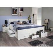 Stauraumbett 140x200 Isotta, Weiß - Weiß, Basics, Holzwerkstoff (140/200cm) - Livetastic
