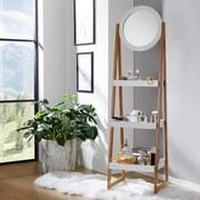 Regál Scandi - prírodné farby/biela, Moderný, drevený materiál/drevo (43/163/36cm) - Ombra