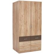 Drehtürenschrank mit Schubladen 91cm Aalen Extra, Eiche Dekor - Grau, KONVENTIONELL, Holzwerkstoff (91/197/54cm)
