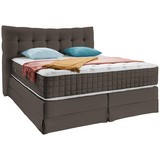 Boxspringbett Domino ca. 200/200cm, Taupe - Taupe, KONVENTIONELL, Holz (200/200cm) - James Wood