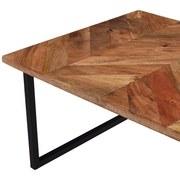 Couchtisch Holz Massiv Industrial, Mangoholz - Schwarz/Braun, MODERN, Holz/Metall (70/35/56cm)