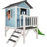 Stelzenspielhaus Holz mit Rutsche Blau/Weiß Sunny Lodge - Blau/Weiß, Holz (260/190/167cm)