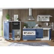 Küchenblock Welcome Jazz 200cm Weiß/blau - Blau/Weiß, MODERN, Holzwerkstoff (200+120cm)
