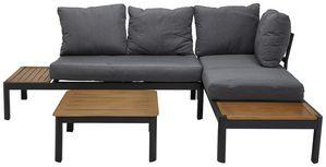 Loungegarnitur Male II - Grau/Teakfarben, Design, Textil/Metall - Luca Bessoni