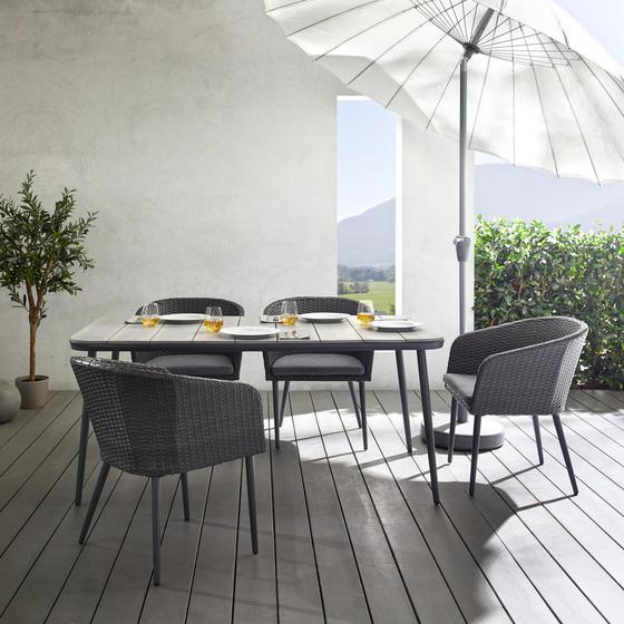 Záhradní Souprava Aada - šedá/světle šedá, Moderní, kov/textil - Modern Living