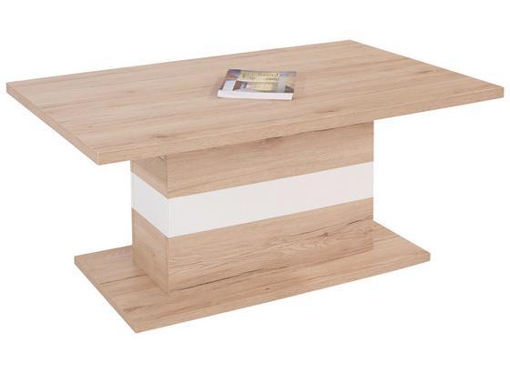 Couchtisch Holz mit Ablage Mali, San Remo Eiche Dekor - Eichefarben/Weiß, MODERN (110/49/67cm)