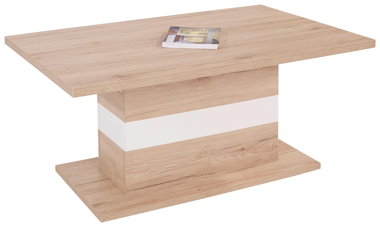 Dohányzóasztal Mali - tölgy színű/fehér, modern (110/49/67cm)