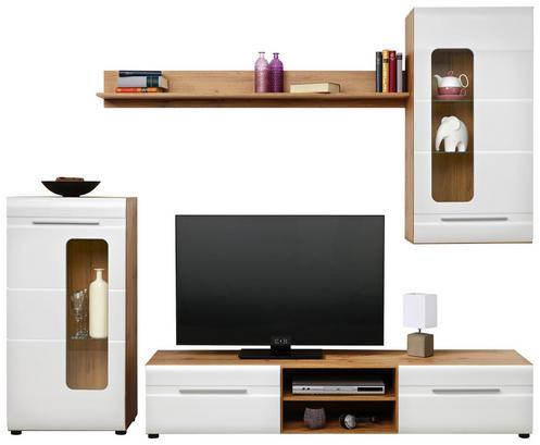Moderne Wohnwand in Weiß Einzelelementen