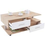 Couchtisch Holz mit Laden+ Ablagefächer Quattro, Dekor - Eichefarben, MODERN, Holzwerkstoff (105/45/60cm)