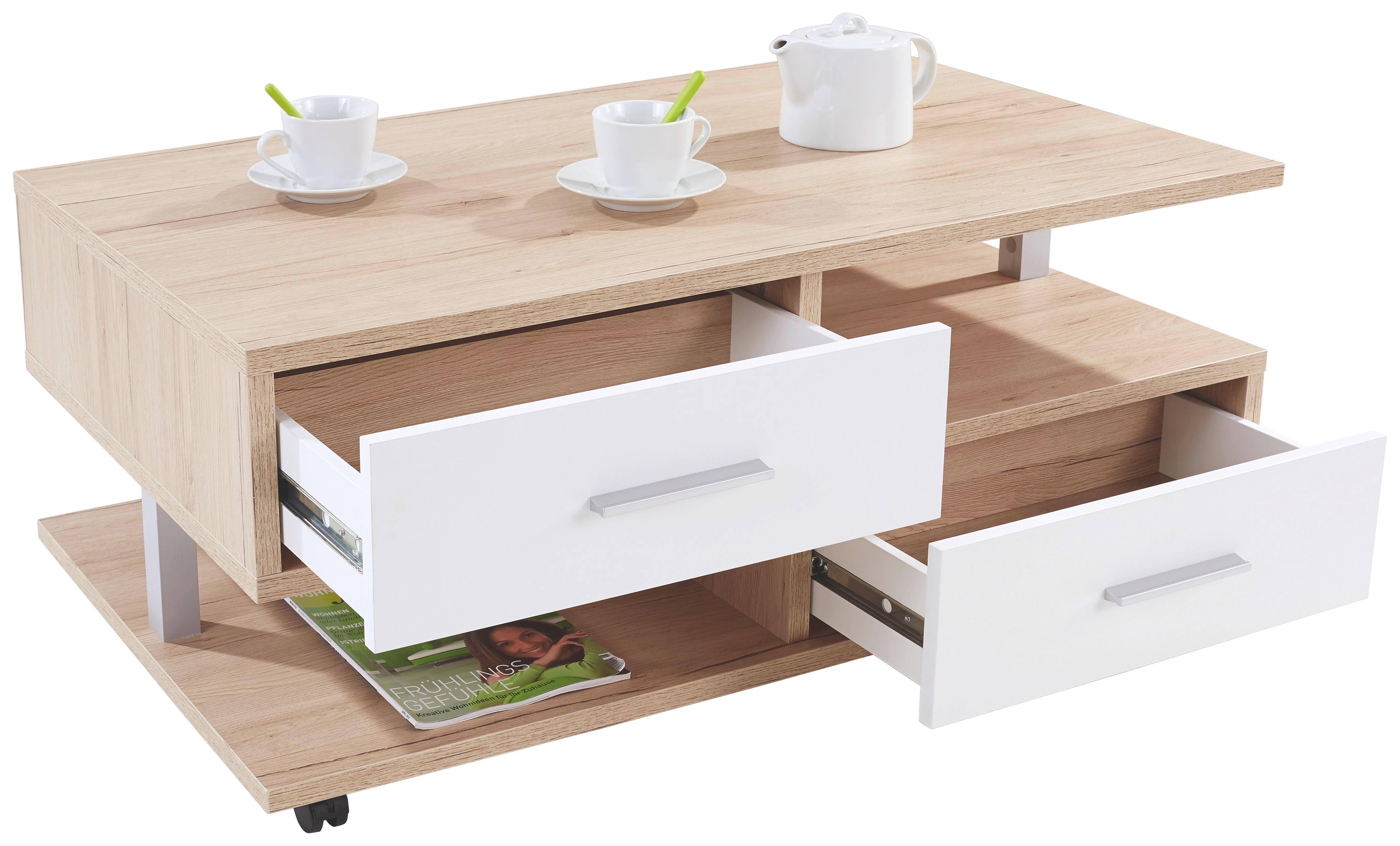 Dohányzóasztal Quattro - tölgy színű, konvencionális, faanyagok (105/45/60cm)