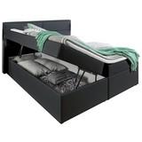 Boxspringbett mit Topper & Bettkasten 195x220cm, Mercura - Graphitfarben, MODERN, Leder/Holzwerkstoff (180/200cm)
