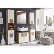 Waschbeckenunterschrank Spalt B: 70 cm Weiß/Eiche Dekor - Eichefarben/Silberfarben, Design, Holzwerkstoff (70/62/40cm) - MID.YOU