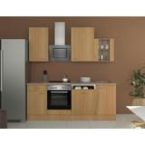 Küchenblock Nano 220 cm Buche - Buchefarben/Creme, MODERN, Holzwerkstoff (220/60cm)