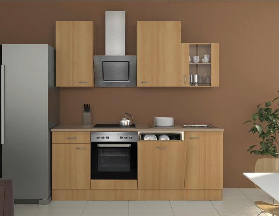 Küchenblock nano 220 cm buche buchefarben creme modern holzwerkstoff 220