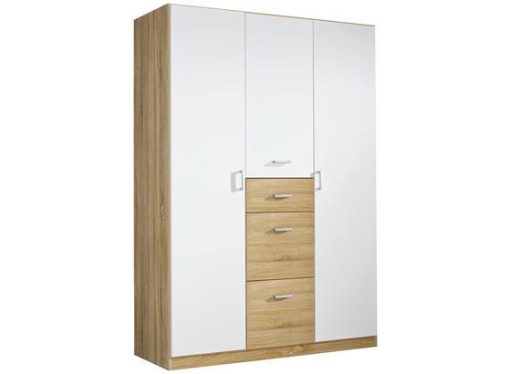 Drehtürenschrank mit Schubladen 136cm Point, Weiß - Weiß/Sonoma Eiche, MODERN, Holzwerkstoff (136/197/54cm)