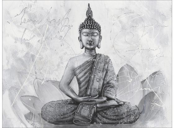 Keilrahmenbild Buddha Grey - Schwarz/Weiß, KONVENTIONELL, Holz (84/116cm)