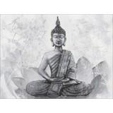 Keilrahmenbild Buddha Grey - Schwarz/Weiß, KONVENTIONELL, Textil (84/116cm)