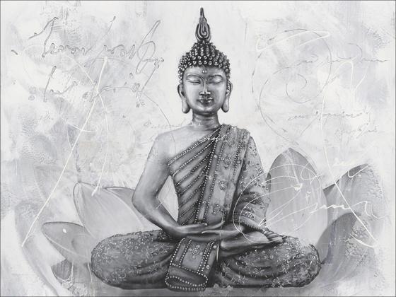 Kép Buddha - Szürke/Fehér, konvencionális, Fa (84/116cm)