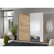 Schwebetürenschrank Stripe B: 180cm - Eichefarben/Braun, MODERN, Holzwerkstoff (180/198/64cm) - Carryhome