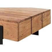 Couchtisch Holz mit Massiver Tischplatte Stan, Akazie - Schwarz/Akaziefarben, Basics, Holz/Metall (120/30/60cm)