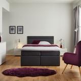Boxspring Postel Rosa 140 - tmavě šedá, Moderní, dřevo/textil (205/140/103cm) - Modern Living