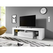 TV-Element Everest B: 140 cm Weiß - Weiß, Basics, Glas/Holzwerkstoff (140/50/35cm)