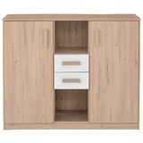 Kommode Cariba B: ca. 124 cm - Eichefarben/Weiß, Design, Holzwerkstoff (124/105/41cm) - Carryhome