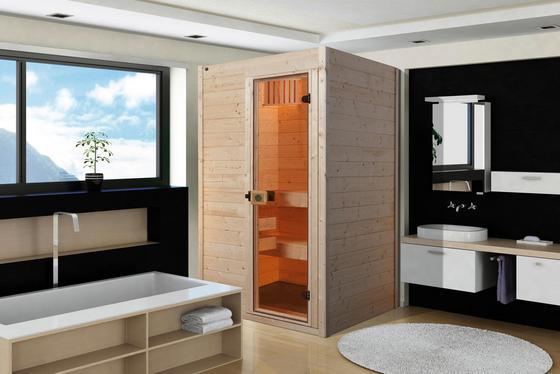 Sauna mit zwei Sitzbänken