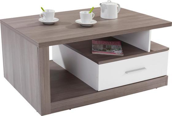 Dohányzóasztal Iguan - Fehér/Sötétszürke, modern, Faalapú anyag/Műanyag (110/45/67cm)