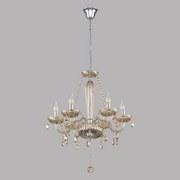 Kronleuchter Basilano H: 130 cm 6-Flammig, Royales Design - Chromfarben/Champagner, MODERN, Glas/Metall (72/130cm)