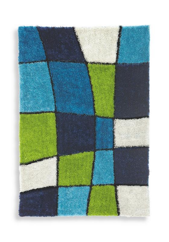 Shaggy Szőnyeg Fancy - Zöld/Kék, konvencionális, Textil (120/170cm) - Luca Bessoni